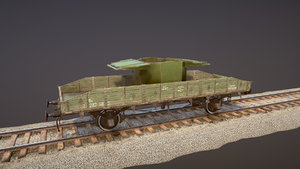 armored train spu-bp railway 3D model