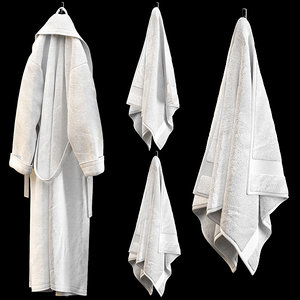 3D terry white bathrobe towels model