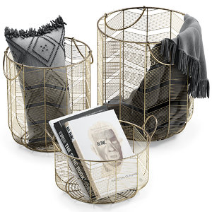 metal baskets books decor 3D