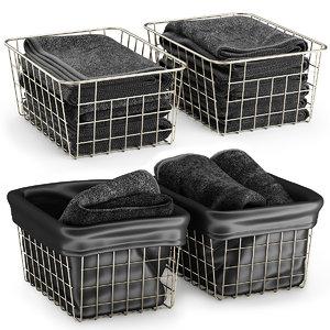 3D metal baskets towels model