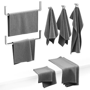 3D kitchen towels gray
