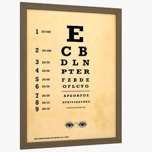 3D eye chart antique