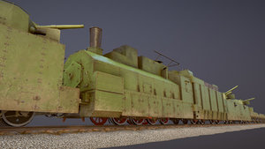 3D armored train bp-35 locomotive