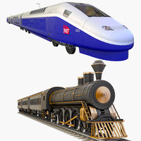 passenger trains 3D model