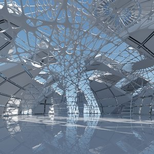 3D futuristic architectural interior model