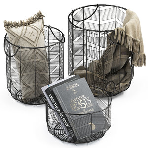 metal baskets decor 3D model