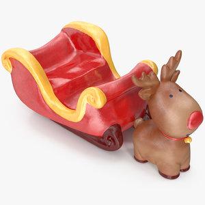 deer sleigh figurine 3D