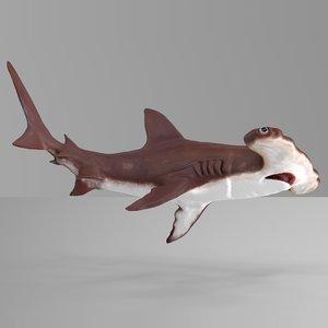 3D hammerhead shark rigged l590