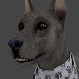 rigged dog idle 3D model