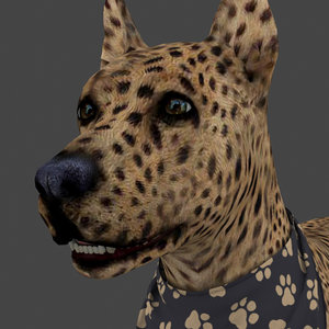 rigged dog idle 3D