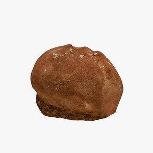 ready brown bread loaf 3D model