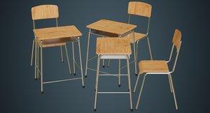 school desk chair 1a 3D model