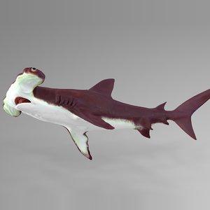 3D model hammerhead shark rigged l591