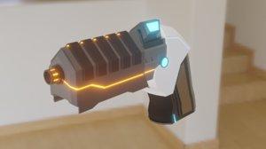 blender sci-fi gun 3D model