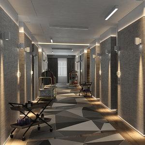 3D model hotel hallway
