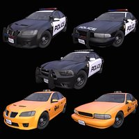 Generic USA Police + Taxi 5-models pack