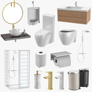 3D bathroom accessories shower toilet paper model