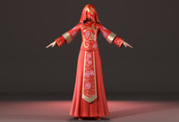 Asian  woman wedding dress Chinese style clothes