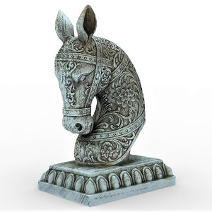 3D model horse head sculpture