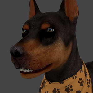 3D rigged dog idle