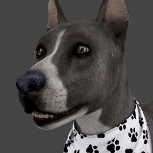 rigged dog idle model