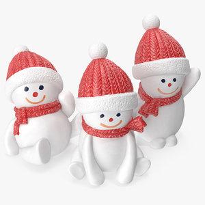 3D snowman figures