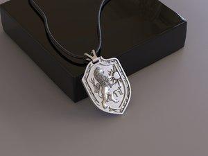 3D heraldic shield leo