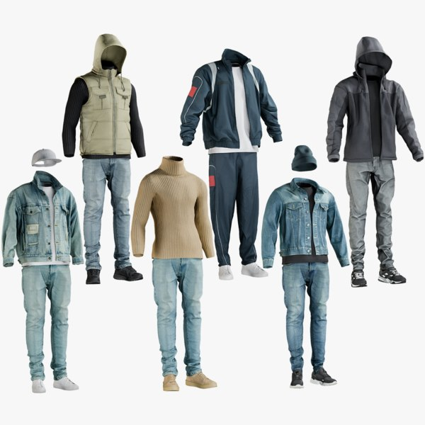 3D model realistic casual sport clothing