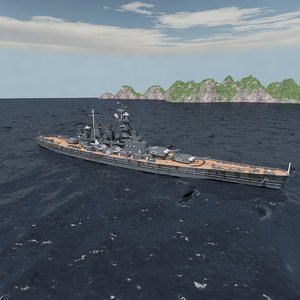 3D model north carolina battleship