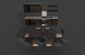 3D old kitchen furniture table chairs