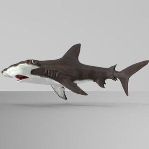 3D hammerhead shark rigged l593 model