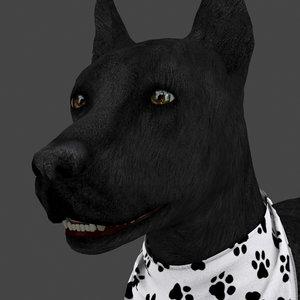 3D model rigged female dog idle
