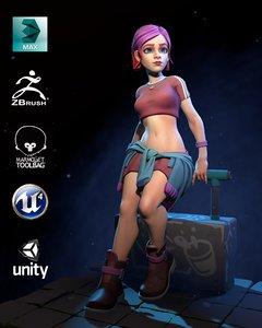 alisia games cartoons 3D model