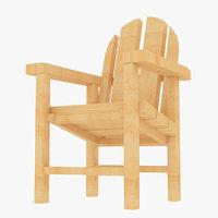 beach wooden chair 3D model