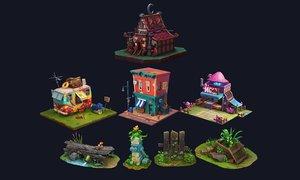 set cartoon buildings 3D model