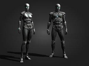 3D robot cyborg sci model