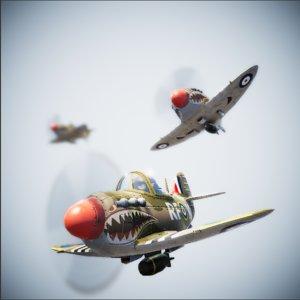 plane pbr spitfire 3D model