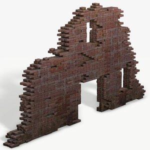 ruined wall pbr ready 3D model