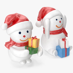 snowman figures 2 3D model