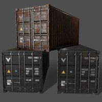 PBR 20 ft Shipping Cargo Container - Black
