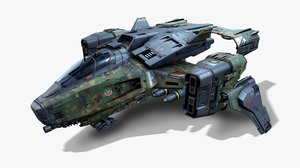 3D sf army aircraft - model