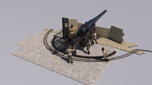 artillery battery krupp 3D model
