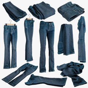 realistic womens folded jeans 3D model