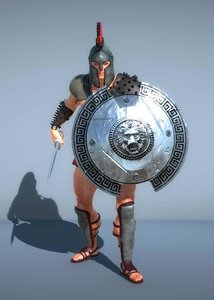 gladiator soldier sword shield 3D