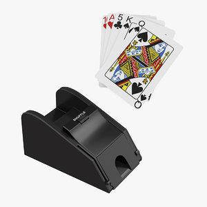 3D card shuffler playing model