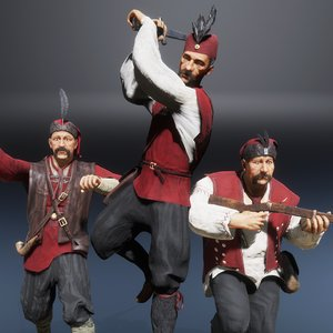 3D model slavic pirates medieval characters