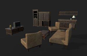 3D living furniture sofa armchairs
