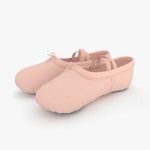 3D ballet shoes model