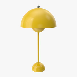 3D flowerpot table lamp yellow model