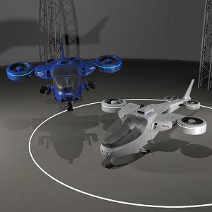 multi-mission tiltrotor quadcopter 3D model